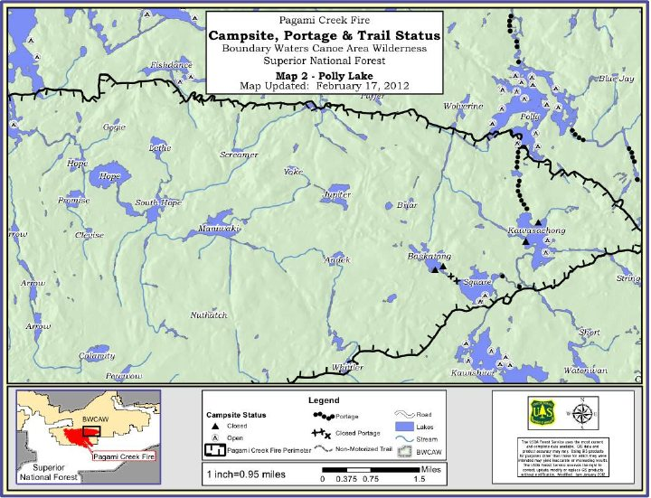 Pagami Creek Fire Map.The Forest Service Has Released Maps Of Entry Points And Campsites