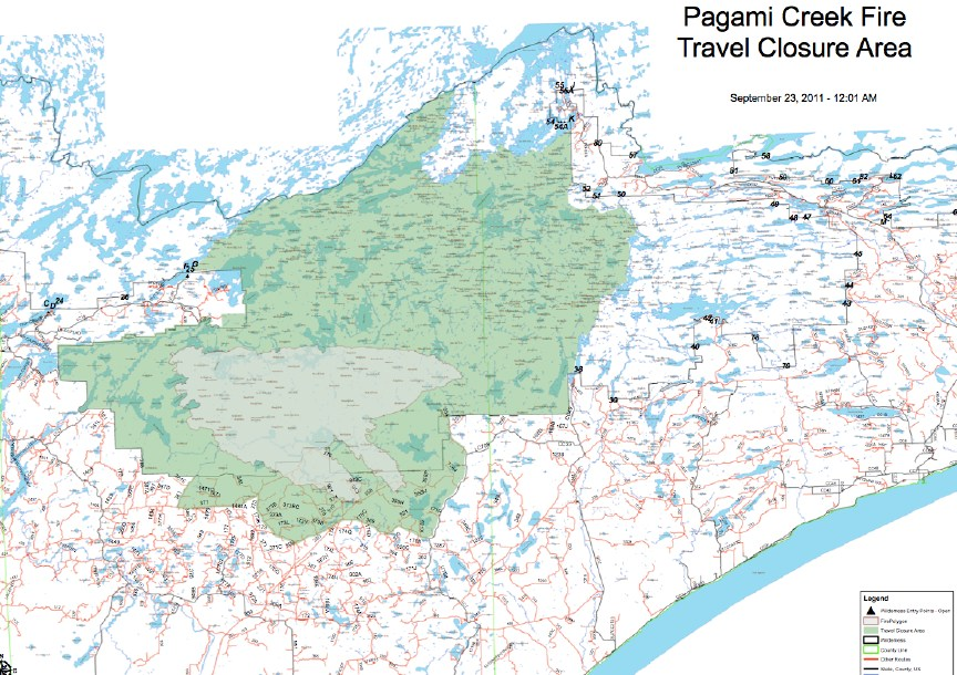 Pagami Creek Fire Map.The Forest Service Has Decreased The Size Of The Area That Is Closed